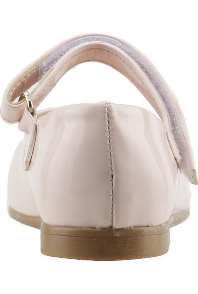 Pamuk Günlük Abiye Cırtlı Kemerli Tokalı Kız Çocuk Babet Ayakkabı Krem