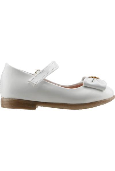 Pamuk Günlük Abiye Cırtlı Kemerli Tokalı Kız Çocuk Babet Ayakkabı Beyaz