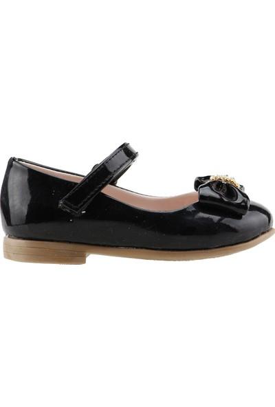 Pamuk Günlük Abiye Cırtlı Kemerli Tokalı Kız Çocuk Babet Ayakkabı Siyah