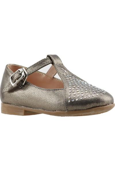 Pamuk Sultan Abiye Kemerli Kız Çocuk Babet Ayakkabı Gümüş