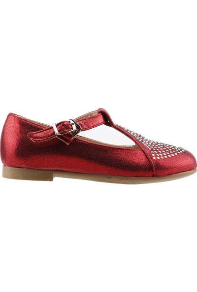 Pamuk Sultan Ortopedik Abiye Kemerli Kız Çocuk Babet Ayakkabı Kırmızı