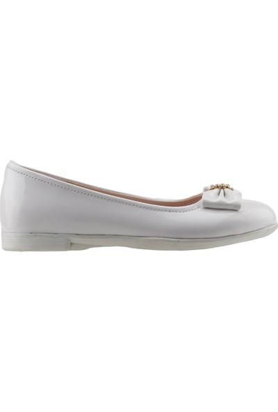 Pamuk Ortopedik Günlük Abiye Tokalı Kız Çocuk Babet Ayakkabı Beyaz