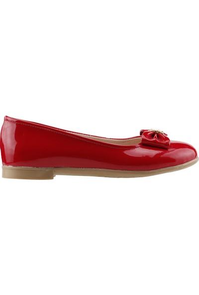 Pamuk Ortopedik Günlük Abiye Tokalı Kız Çocuk Babet Ayakkabı Kırmızı
