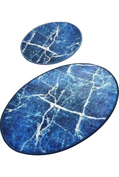 Ewans Oval Banyo Klozet Takımı - Mermer Mavi