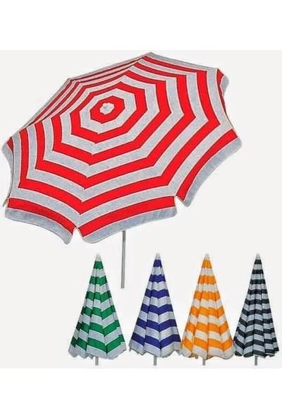 Plaj Bahçe Şemsiyesi 180Cm Çizgili Pamuklu İnce Kumaş