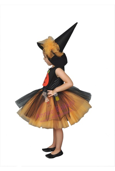 Annee Bakk Cadı Kostümü Turuncu Tütü
