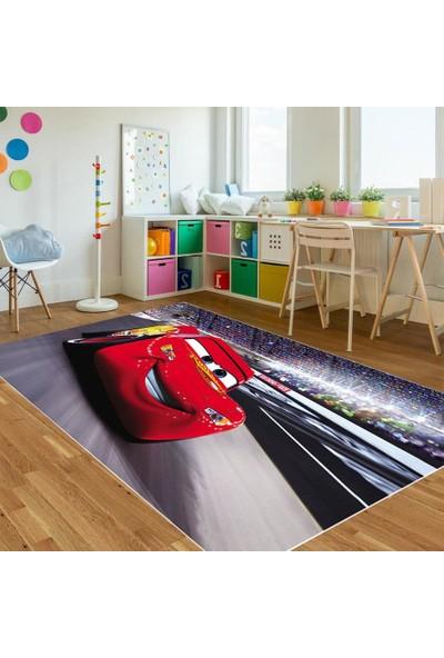 Soft Halı Çocuk Odası Halısı Şimşek Mcqueen Kırmızı Araba