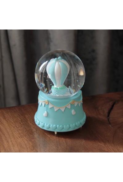 Hediye Biziz Mavi Balonlu Kar Küresi Işıklı Müzikli