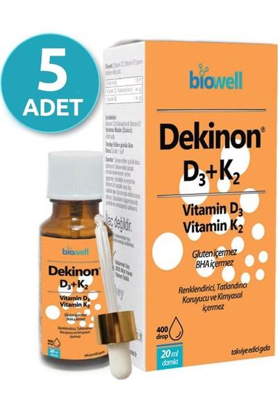 Biowell Dekinon D3 K2 Vitamini Damla 20 Ml X 5 Adet