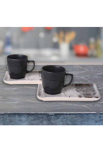 Keramika Set Doğaltaş Atıştırmalık 4 Parça Mat Renkli
