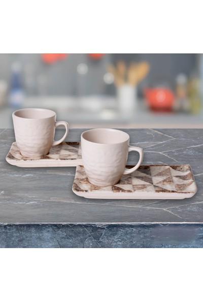 Keramika Set Doğaltaş Atıştırmalık 4 Parça Mat Transparan Beyaz