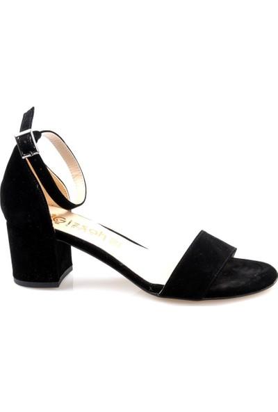 Gizşah Kadın Tekbant Kısa Topuklu Siyah Süvet Ayakkabı
