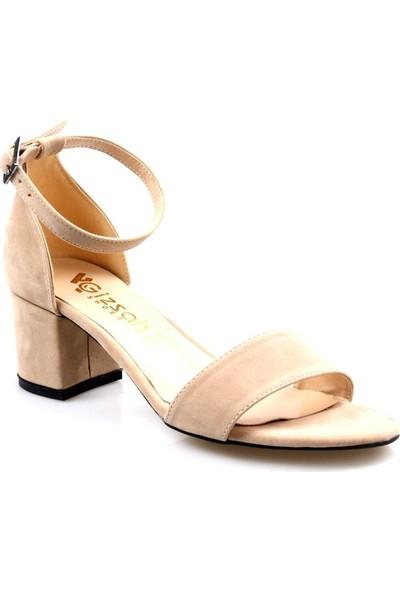 Gizşah Kadın Tekbant Kısa Topuklu Vizon Süvet Ayakkabı