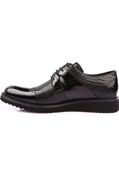 Dgn 014 Erkek Eva Taban Kare Baskılı Klasik Ayakkabı Siyah
