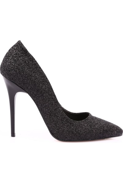 Piolin 100 Kadın Sivri Burun Parmak Dekolteli İnce Topuklu Stiletto Siyah