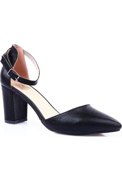 Dgn 104-1 Kadın Sivri Burun Asimetrik Kesim Parmak Dekolteli Bilekten Bağlı Uzun Topuklu Ayakkkabı Siyah