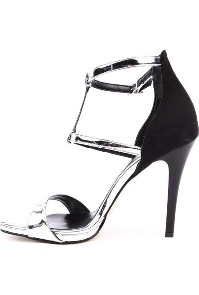 Dgn 111 Kadın T-Strap Bilekten Bağlı İnce Topuklu Abiye Ayakkabı Gri