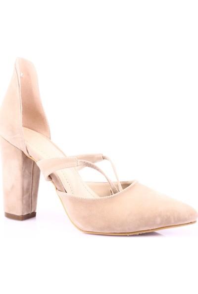 Beety 1553 Kadın Sivri Burun Parmak Dekolteli Sarmal Bağlı Topuklu Ayakkabı Ten