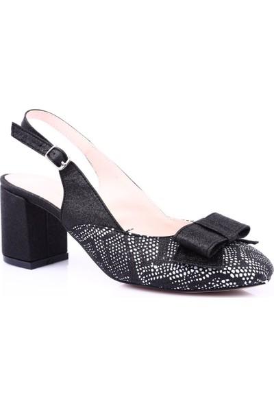 Beety 1904 Kadın Küt Burun Önü Kurdelalı Arkası Açık Kısa Topuklu Ayakkabı Siyah