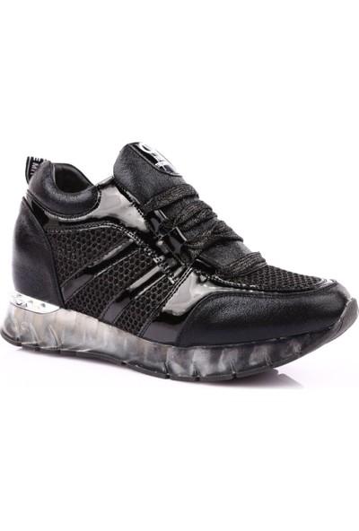 Guja 19Y301-1 Kadın Kalın Taban File Deyalı Sneakers Spor Ayakkabı Siyah