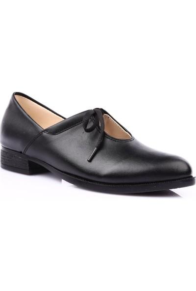Dgn 201 Kadın Sivri Burun U Dekolteli Oxford Ayakkabı Siyah