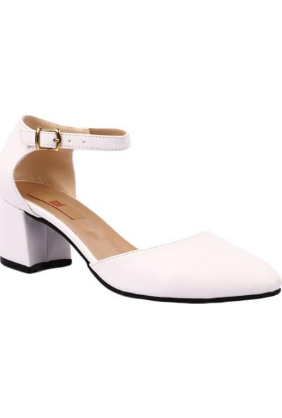 Dgn K202 Kadın Sivri Burun Parmak Dekolteli Bilekten Bağlı Topuklu Ayakkabı Beyaz