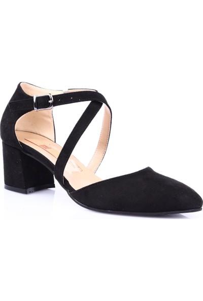 Dgn 203 Kadın Sivri Burun Parmak Dekolteli Çapraz Bilekten Bağlı Topuklu Ayakkabı Siyah Süet