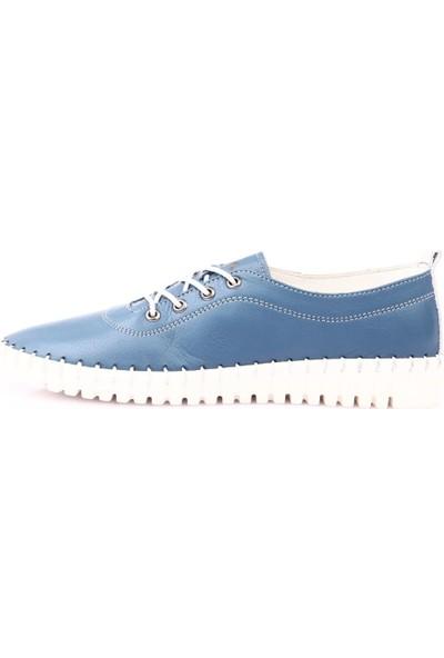 Espy 204 Kadın Spor Lastik Bağlı Saraçlı Ayakkabı Kot Mavi