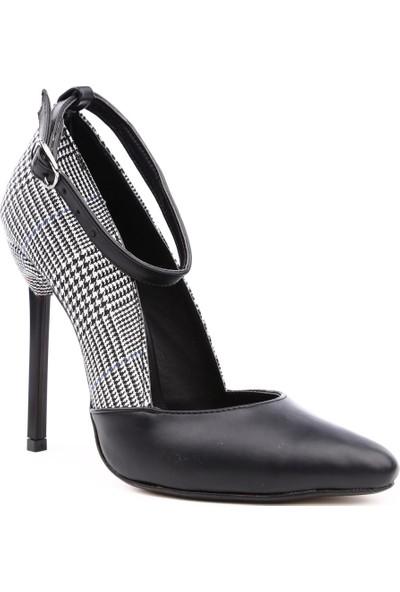Dgn 3061 Kadın Sivri Burun Parmak Dekolteli Bilekten Bağlı Çivi Topuklu Stiletto Siyah