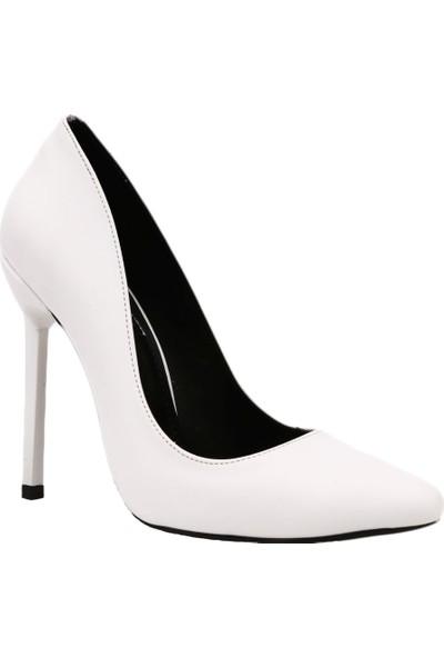 Dgn 3066 Kadın Sivri Burun Parmak Dekolteli Çivi Topuklu Stiletto Beyaz