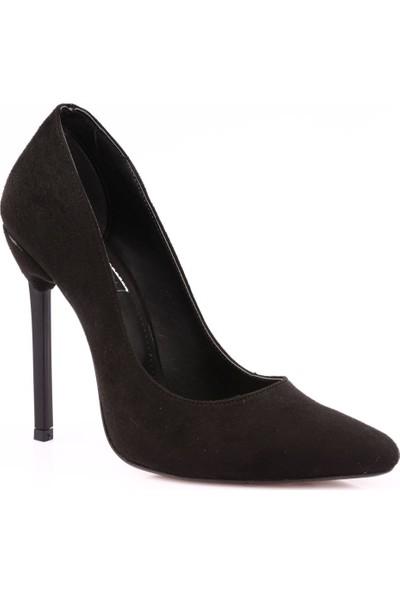 Dgn 3066 Kadın Sivri Burun Parmak Dekolteli Çivi Topuklu Stiletto Siyah Süet