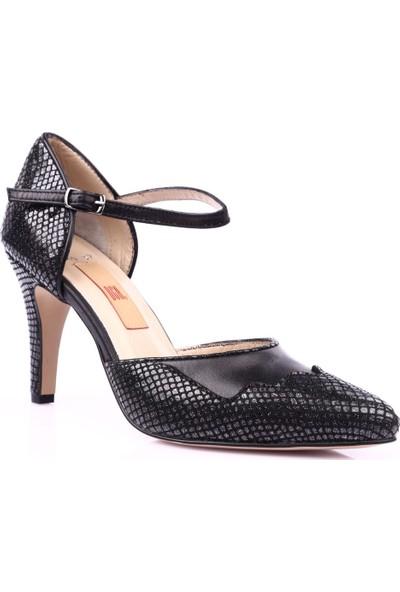 Dgn 360 Kadın Sivri Burun Parmak Dekolteli Bilekten Bağlı 13 Pont Topuklu Ayakkabı Siyah