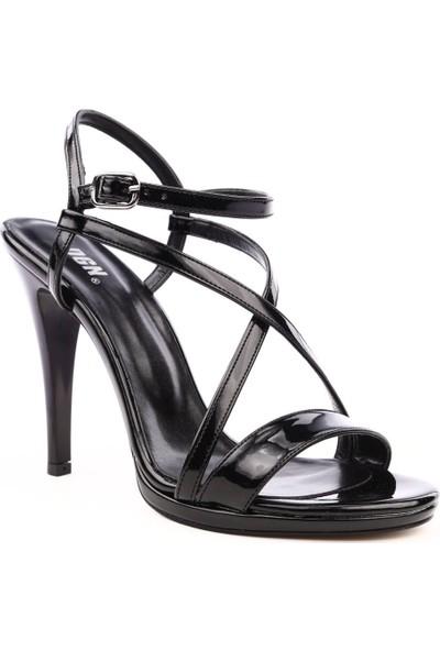 Dgn 4011 Kadın Çapraz Bilekten Bağlı İnce Topuklu Abiye Ayakkabı Siyah