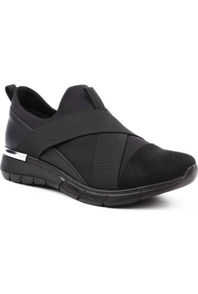 Dgn 402 Kadın Stretch Detaylı Çapraz Lastikli Spor Ayakkabı Siyah