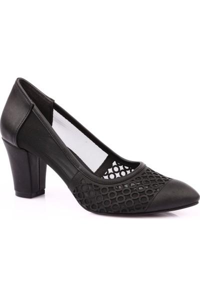 Beety 46 Kadın Sivri Burun Yanı Transparan Topuklu Ayakkabı Siyah
