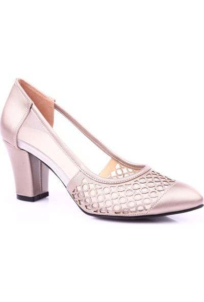 Beety 46 Kadın Sivri Burun Yanı Transparan Topuklu Ayakkabı Vizon