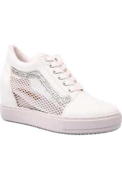 Dgn 6.X.70 Gizli Dolgu Taban File Detaylı Silver Taşlı Sneakers Ayakkabı Beyaz