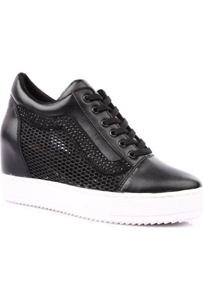 Dgn 6.X.70 Gizli Dolgu Taban File Detaylı Silver Taşlı Sneakers Ayakkabı Siyah
