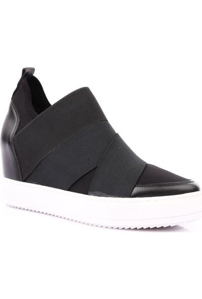 Dgn 6.X.71 Gizli Dolgu Taban Boğazı Stretch Üstü Lastikli Sneakers Ayakkabı Siyah