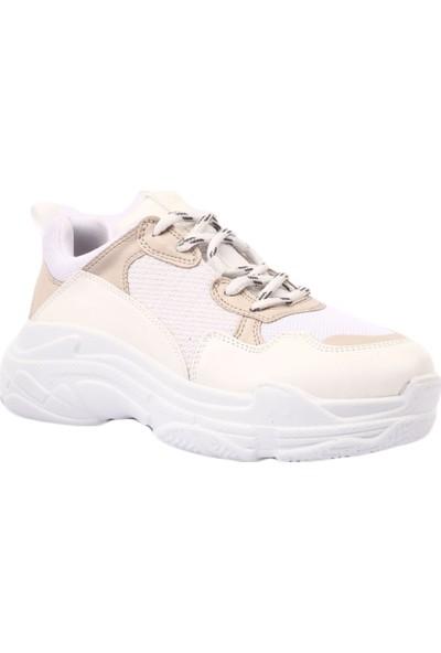 Dgn 61125 Kadın Kalın Taban Sneakers Spor Ayakkabı Beyaz