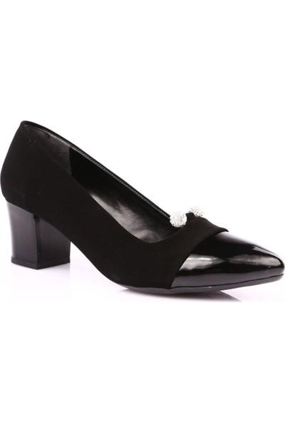 Beety B18.616 Kadın Sivri Burun Önü Boncuk Taşlı Kısa Topuklu Ayakkabı Siyah