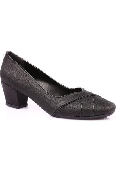 Beety 8612 Kadın Küt Burun Topuklu Ayakkabı Siyah