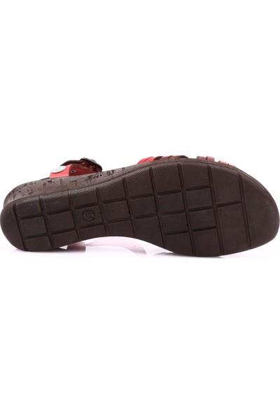 Mammamia D19Ys-1205 Kadın Sandalet Ayakkabı Kırmızı