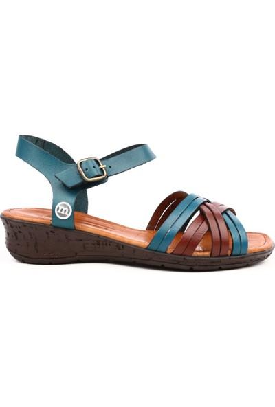 Mammamia D19Ys-1205 Kadın Sandalet Ayakkabı P.Mavi Faber