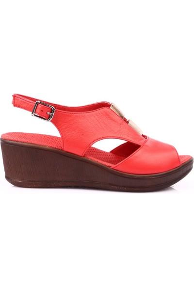 Mammamia D19Ys-1455 Kadın Sandalet Ayakkabı Kırmızı