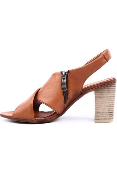 Mammamia D19Ys-1465 Kadın Sandalet Ayakkabı Taba
