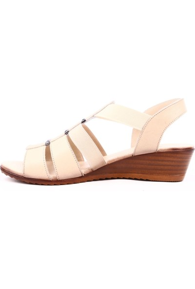 Mammamia D19Ys-1620 Kadın Sandalet Ayakkabı Bej