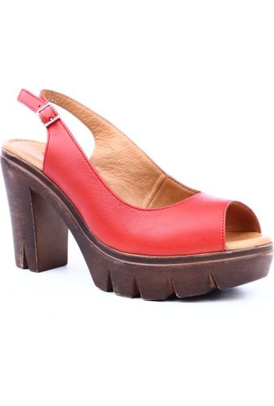 Hammer Jack Hj-542-300-Z Kadın Yüksek Topuk Sandalet Kırmızı