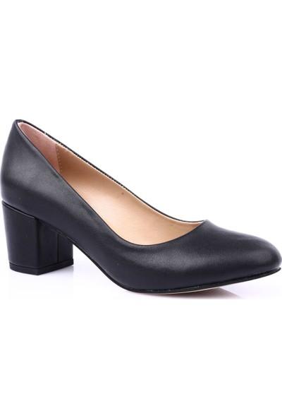 Dgn K100 Yuvarlak Burun Kısa Topuklu Ayakkabı Siyah