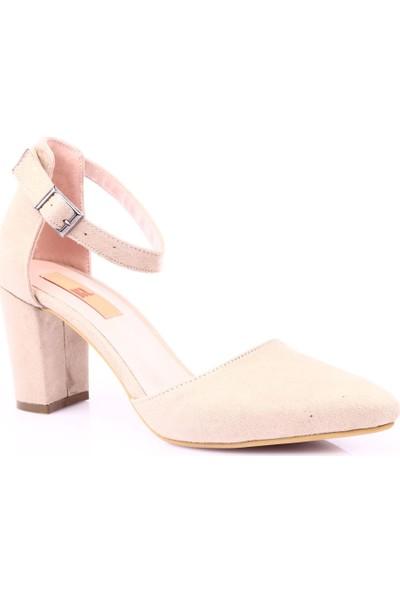 Dgn K1905 Kadın Sivri Burun Parmak Dekolteli Bilekten Bağlı Topuklu Ayakkabı Ten